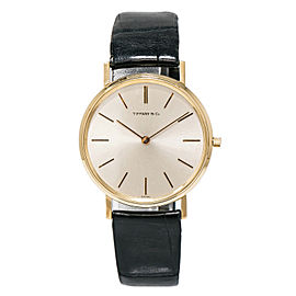 Tiffany & Co. Universal Geneve 18K Yellow Gold & Leather Silver Dial Manual Vintage 36mm Mens Watch