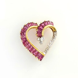 14K Yellow Gold Heart 0.1 Ct Diamond Baguette Rubies Heart Pendant 1.7 Grams