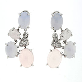 18k White Gold Moonstone Pave Diamond Ladies Drop Earrings