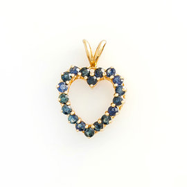 14K Yellow Gold Heart 1.0 Ct Ceylon Sapphire Heart Pendant 2.4 Grams