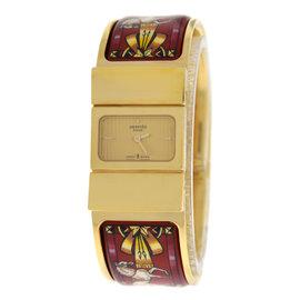 Hermes Paris Loquet L01.201 Gold Plated Stainless Steel Quartz 19mm Womens Watch
