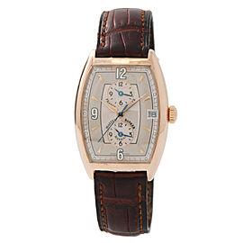 Frank Muller Master Banker Havana 2852MBHV 18K Rose Gold & Leather Automatic Mens 34mm Watch
