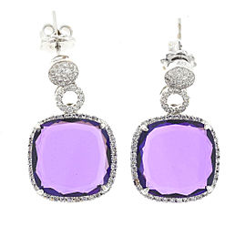 18k White Gold Amethyst & Diamond Drop Earrings