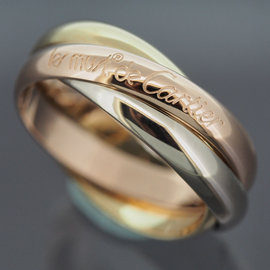 Cartier 18K Yellow, Rose And White Gold Rolling Ring Size 7.15