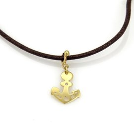 Pasquale Bruni 18K Yellow Gold & Leather Cord Le Monde Anchor Pendant Necklace
