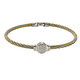 Philippe Charriol 18K Yellow Gold Stainless Steel Diamond Cable Bracelet