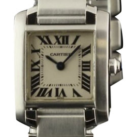 Cartier Tank Francaise W51008Q3 Stainless Steel with White Dial 25mm Womens Watch