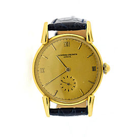Vacheron Constantin 4334 Vintage 18K Yellow Gold with Leather Manual 34mm Mens Watch
