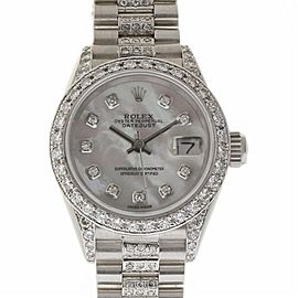 Rolex Datejust 69179 18K White Gold with Mother Of Pearl Dial and Diamonds 26mm Womens Watch