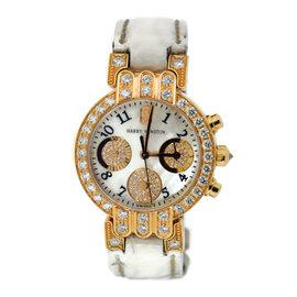 Harry Winston 200/UCQ32RL.MD.D3.1 18K Rose Gold & Leather with Diamond Quartz 32mm Womens Watch