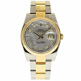 Rolex Datejust 116203 Stainless Steel and Yellow Gold Mother Of Pearl Diamond 36mm Mens Watch