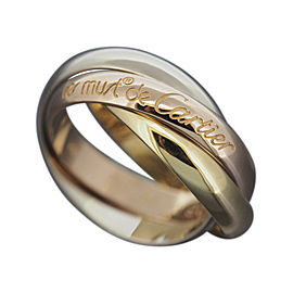 Cartier 18K Yellow White & Rose Gold Band Trinity Rolling Ring Size 5.5