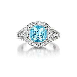 Penny Preville 18K White Gold with Aquamarine & Diamond Ring Size 5.75