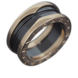 Bulgari B Zero 1 18K Rose Gold & Black Ceramic Ring Size 5.25