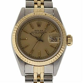 Rolex Date 69173 18K Yellow Gold and Stainless Steel with Champagne Dial Vintage 26mm Womens Watch