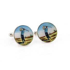 Vintage Tiffany & Co. 925 Sterling Silver & Enamel Golfer Button Stud Cufflinks