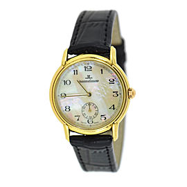 Jaeger LeCoultre 18K Yellow Gold & Leather MOP Dial Quartz Vintage 32mm Unisex Watch
