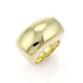 Ippolita Classico 18K Yellow Gold Rectangular Dome Band Ring Size 7.5