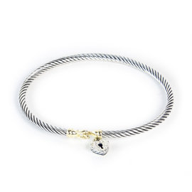 David Yurman 18k Yellow Gold 925 Sterling Silver Heart Lock Cable Collectibles Bracelet