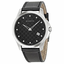 Gucci G-Timeless YA126305 Stainless Steel & Leather Black Diamond Dial 40mm Unisex Watch