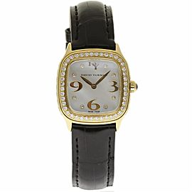 David Yurman Thoroughbred T304-X588 Yellow Gold / Leather with Mother of Pearl Diamond Dial 25mm Womens Watch