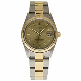 Rolex Date 15203 Stainless Steel and 18K Yellow Gold with Champagne Dial 34mm Womens Watch