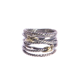 David Yurman Sterling Silver & 18K Yellow Gold Double X Crossover Ring Size 6.5