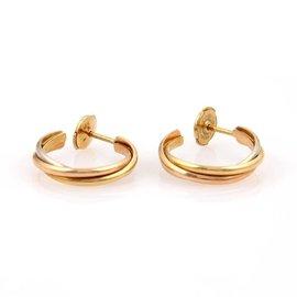 Cartier Trinity De 18K Yellow White Rose Gold Hoop Earrings