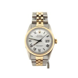Rolex Datejust 16013 14K Yellow Gold & Stainless Steel White & Black Roman Dial 36mm Mens Watch