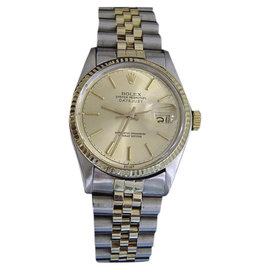 Rolex Datejust 16013 14K and 10K Yellow Gold and Stainless Steel with Champagne Dial 36mm Mens Watch