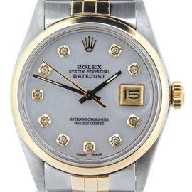 Rolex Datejust 16013 18K Yellow Gold & Stainless Steel Custom Diamond Automatic 36mm Mens Watch