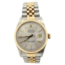 Rolex Datejust 16013 18K Yellow Gold and Stainless Steel with Silver Dial 36mm Mens Watch