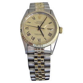 Rolex Datejust 16013 14K Yellow Gold and Stainless Steel with Gold Dial 36mm Mens Watch