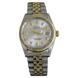 Rolex Datejust 16013 Stainless Steel and 14K Yellow Gold with Silver Dial 36mm Mens Watch