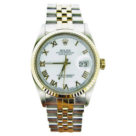 Rolex Datejust 16013 18K Yellow Gold and Stainless Steel with White Roman Dial 36mm Mens Watch