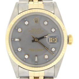 Rolex Datejust 16013 18K Yellow Gold and Stainless Steel with Gray Dial 36mm Mens Watch