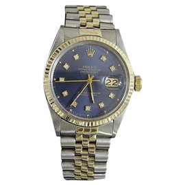Rolex Datejust 16013 14K Yellow Gold and Stainless Steel with Blue Diamond Dial 36mm Mens Watch