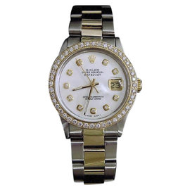 Rolex Datejust 16013 18K Yellow Gold and Stainless Steel with White Mother Of Pearl Diamond Dial 36mm Mens Watch
