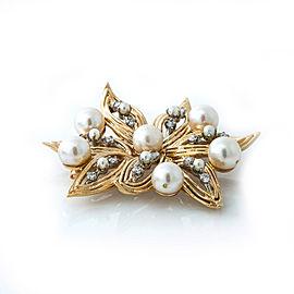 14K Yellow Gold Pearl 0.75 Ct G SI1 Diamonds Flower Pendant Brooch 19.3 Grams