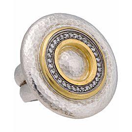 Gurhan 24K Yellow Gold Sterling Silver Diamond Ring Size 6.5