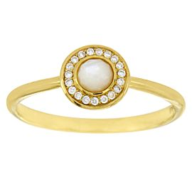 Ippolita 18K Yellow Gold Mother Of Pearl Diamond Ring Size 7
