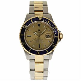Rolex Submariner 16613 Stainless Steel and Yellow Gold with Champagne Serti Dial 40mm Mens Watch