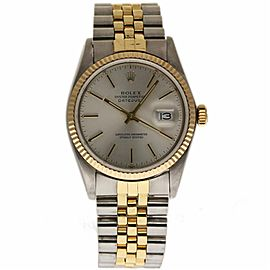 Rolex Datejust 16030 Stainless Steel / Yellow Gold with Silver Index Dial Automatic Vintage 36mm Mens Watch