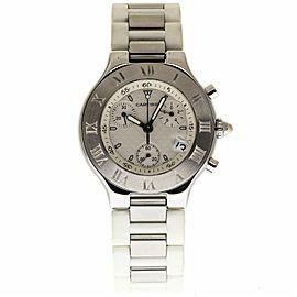 Cartier Must 21 Chronoscaph W10184U2 Stainless Steel 38mm Unisex Watch