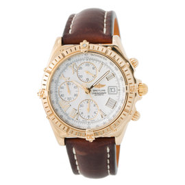Breitling Windrider Crosswind K13055 18K Yellow Gold & Leather White Dial Automatic 43mm Mens Watch