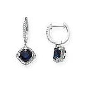 18K White Gold Sapphire Diamond Earrings
