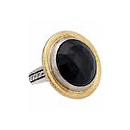 Gurhan 24K Yellow Gold Sterling Silver Onyx Ring Size 7