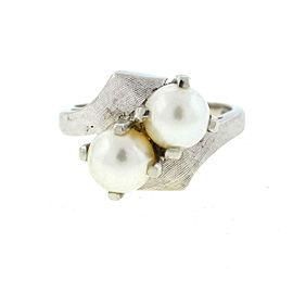 14k White Gold Pearl Ladies Ring