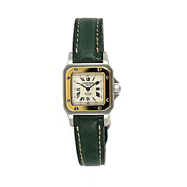 Cartier Santos 1567 Two Tone Stainless Steel & Leather 24mm Womens Watch