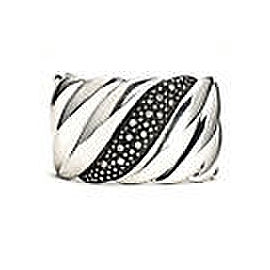 David Yurman 925 Sterling Silver with 1.72ct Diamonds Wide Sculpted Cable Moonlight Cuff Bracelet